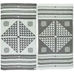 Aruba Dual-Layer Turkish Towel -37X70 Inches, Black/Mint