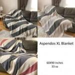 Aspendos XL Herringbone Throw Blanket Turkish Towel - 60X90 Inches, Black-Beige