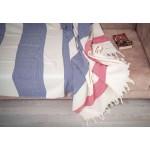 Aspendos XL Herringbone Throw Blanket Turkish Towel - 60X90 Inches, Dark Blue-Red