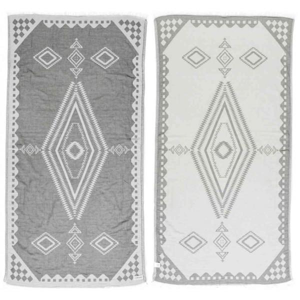 Bahamas Dual-Layer Turkish Towel -37X70 Inches, Silver Gray