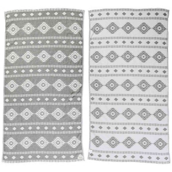 Belize Dual-Layer Turkish Towel - 37X70 Inches, Silver Gray