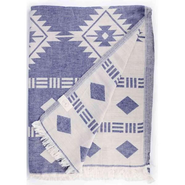 Belize XL Dual Layer Throw Blanket Turkish Towel - 78X94 Inches, Dark Blue