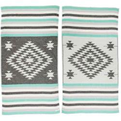 Carmen Dual-Layer Turkish Towel -37X70 Inches, Black/Mint