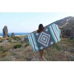 Carmen Dual-Layer Turkish Towel -37X70 Inches, Black/Mint