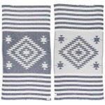 Carmen Dual-Layer Turkish Towel -37X70 Inches, Dark Blue