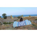 Carmen Dual-Layer Turkish Towel -37X70 Inches, Dark Blue/Turquoise
