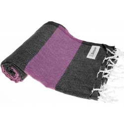 Bersuse 100% Cotton - Cayman Turkish Towel - Bath Beach Fouta Peshtemal - OEKO-TEX Certified - Warm Rich Colors Pestemal - 37X70 Inches, Black/Purple