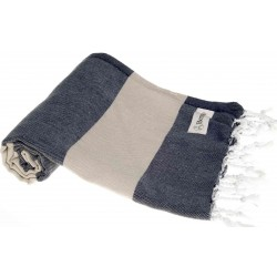 Cayman Turkish Towel - 37X70 Inches, Dark Blue/Beige