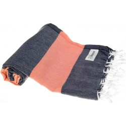 Cayman Turkish Towel - 37X70 Inches, Dark Blue/Orange