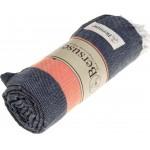 Cayman Turkish Towel - 37X70 Inches, Dark Blue/Orange