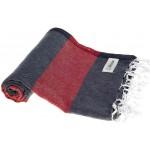 Cayman Turkish Towel - 37X70 Inches, Dark Blue/Red