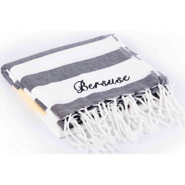 Copacapana Turkish Towel - 39X79 Inches, Black