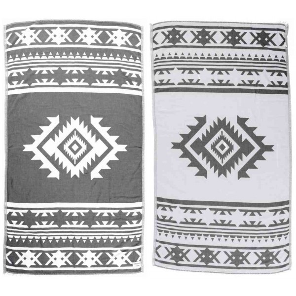 Cozumel Dual-Layer Turkish Towel - 39X71 Inches, Silver Grey