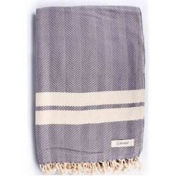 Herringbone XL Throw Blanket Turkish Towel - 63X94 Inches, Anthracite