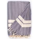 Herringbone XL Throw Blanket Turkish Towel - 63X94 Inches, Anthracite