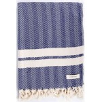 Herringbone XL Throw Blanket Turkish Towel - 63X94 Inches, Dark Blue