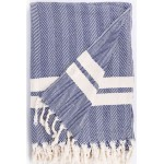Herringbone XL Throw Blanket  - 63X94 Inches, Dark Blue