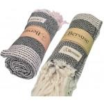 Hierapolis Turkish Towel - 37X70 Inches, Black