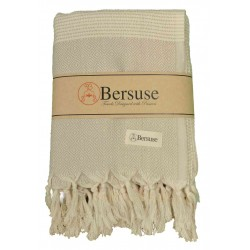 Hierapolis XL Throw Blanket Turkish Towel - 60X95 Inches, Beige