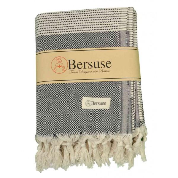 Hierapolis XL Throw Blanket Turkish Towel - 60X95 Inches, Black