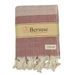 Hierapolis XL Throw Blanket Turkish Towel - 60X95 Inches, Burgundy