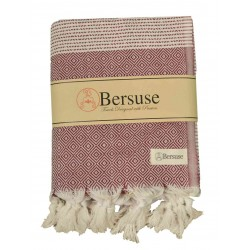 Hierapolis XL Throw Blanket Turkish Towel - 60X95 Inches, Burgundy