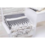 Laodicea Hand Turkish Towel - 21X39 Inches, Black
