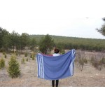 Acapulco Organic Turkish Towel with Zipper Pocket - 37X70 Inches, Navy