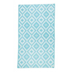 Barbados Organic Turkish Towel with Zipper Pocket - 37X70 Inches, Aqua/Natural