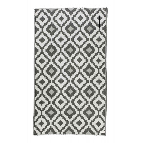 Barbados Organic Turkish Towel with Zipper Pocket - 37X70 Inches, Black/Natural