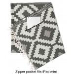 Barbados Organic Turkish Towel with Zipper Pocket - 37X70 Inches, Black/Natural