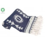 Campeche Organic Turkish Towel - 37X70 Inches, Navy/Grey