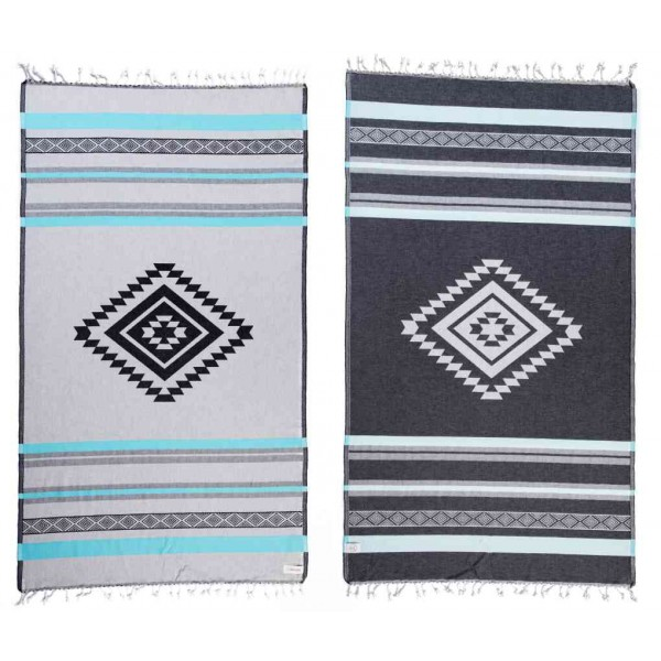 Cancun Organic Turkish Towel - 37X70 Inches, Aqua