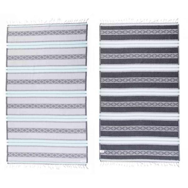 Laguna Organic Turkish Towel - 37X70 Inches, Mint Green/Grey