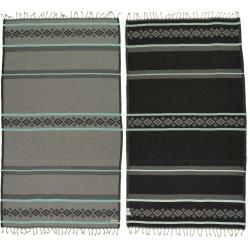 Waikiki Organic Turkish Towel - 37X70 Inches, Grey/Mint Green
