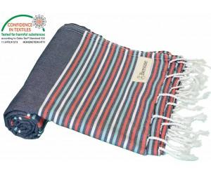 Teos Beach Towel Navy Red