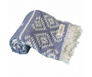 Teotihuacan Aztec Beach Towel Dark Blue
