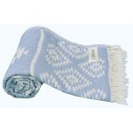 Teotihuacan Dual-Layer Turkish Towel - 37X70 Inches, Grey Blue