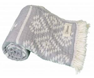 Teotihuacan Aztec Beach Towel Silver Grey