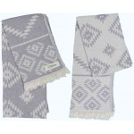 Teotihuacan Dual-Layer Turkish Towel - 37X70 Inches, Silver Grey