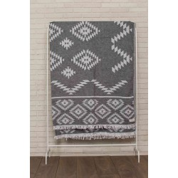 Teotihuacan XL Throw Blanket Turkish Towel - 78X94 Inches, Black