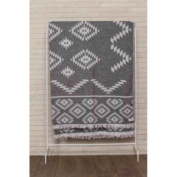 Teotihuacan XL Throw Blanket Turkish Towel - 78X94 Inches, Black