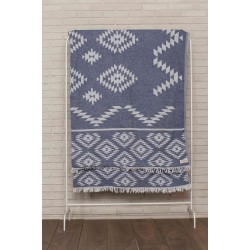 Teotihuacan XL Throw Blanket Turkish Towel - 78X94 Inches, Dark Blue