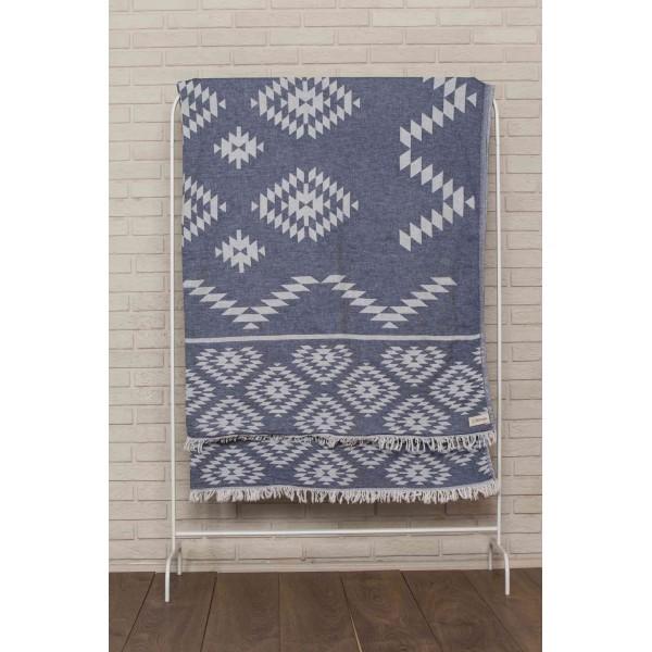 Teotihuacan XL Throw Blanket Turkish Towel - 78X94 Inches, Dark Blue