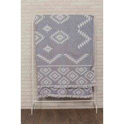 Teotihuacan XL Throw Blanket Turkish Towel - 78X94 Inches, Silver Grey