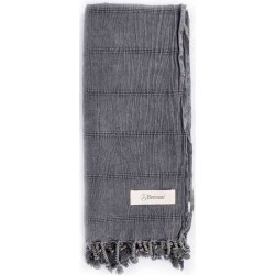 Troy Stonewashed Turkish Towel - 33X66 Inches, Black