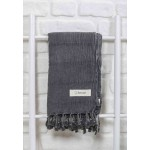 Troy Stonewashed Turkish Towel - 33X66 Inches, Black