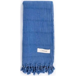 Bersuse 100% Cotton - Troy Turkish Towel - Bath Beach Fouta Peshtemal - Stonewashed Handloom Pestemal - 33X66 Inches, Blue