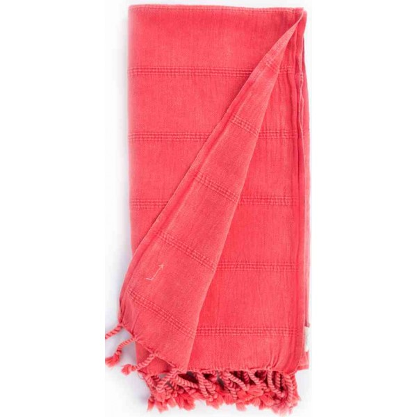 Troy Stonewashed Turkish Towel - 33X66 Inches, Coral
