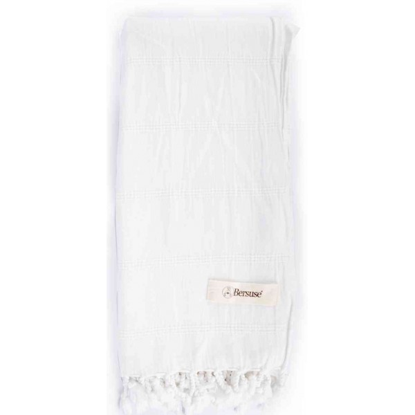 Troy Stonewashed Turkish Towel - 33X66 Inches, White